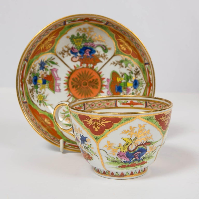 Pair Dragons in Compartments Breakfast Cups and Saucers Hand Painted In Excellent Condition For Sale In New York, NY