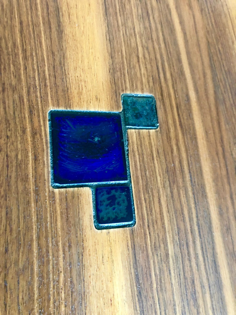 Pair of Dunbar Janus End Tables with Tiffany Tiles For Sale 3