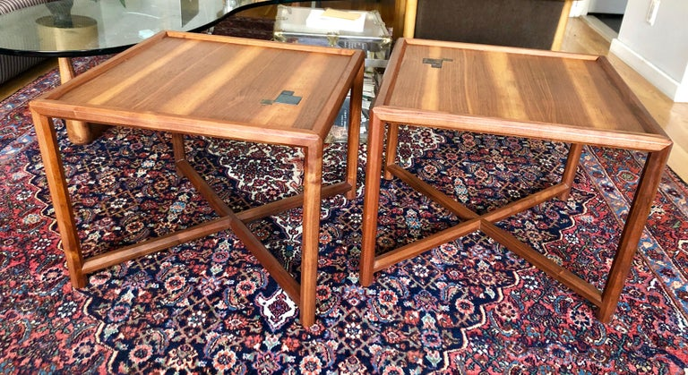 Pair of Dunbar Janus End Tables with Tiffany Tiles In Good Condition For Sale In Hudson, NY
