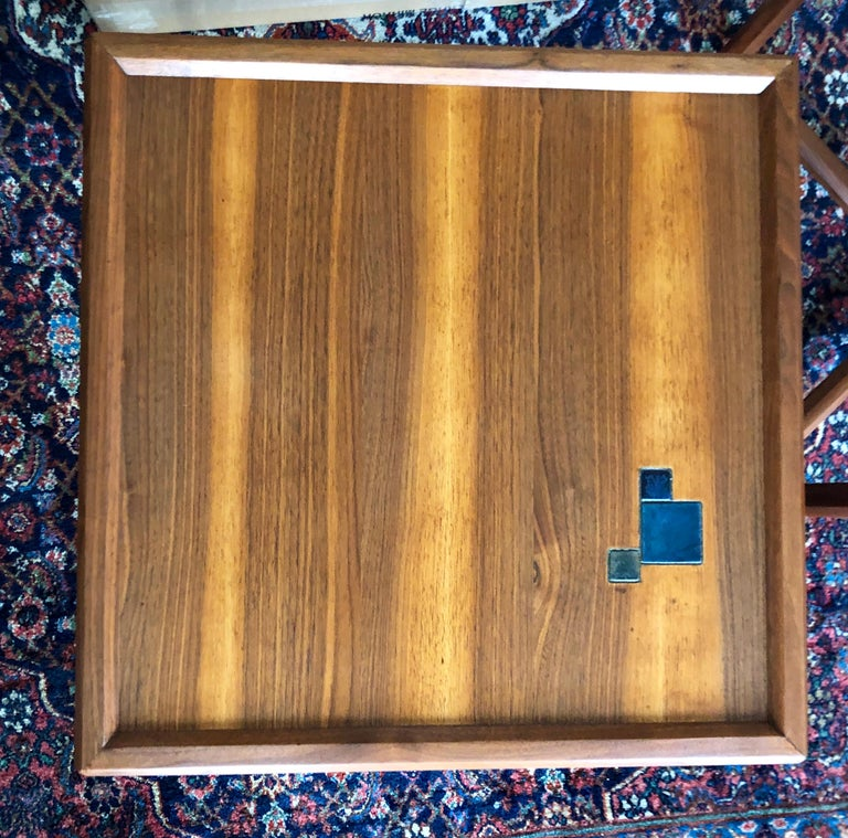 Mid-20th Century Pair of Dunbar Janus End Tables with Tiffany Tiles For Sale