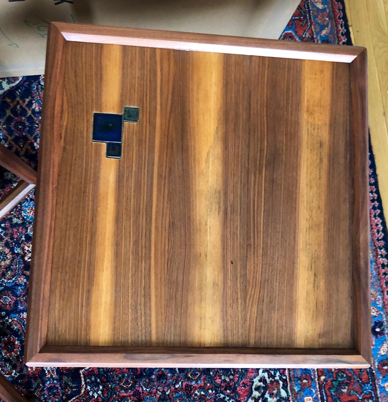 Walnut Pair of Dunbar Janus End Tables with Tiffany Tiles For Sale