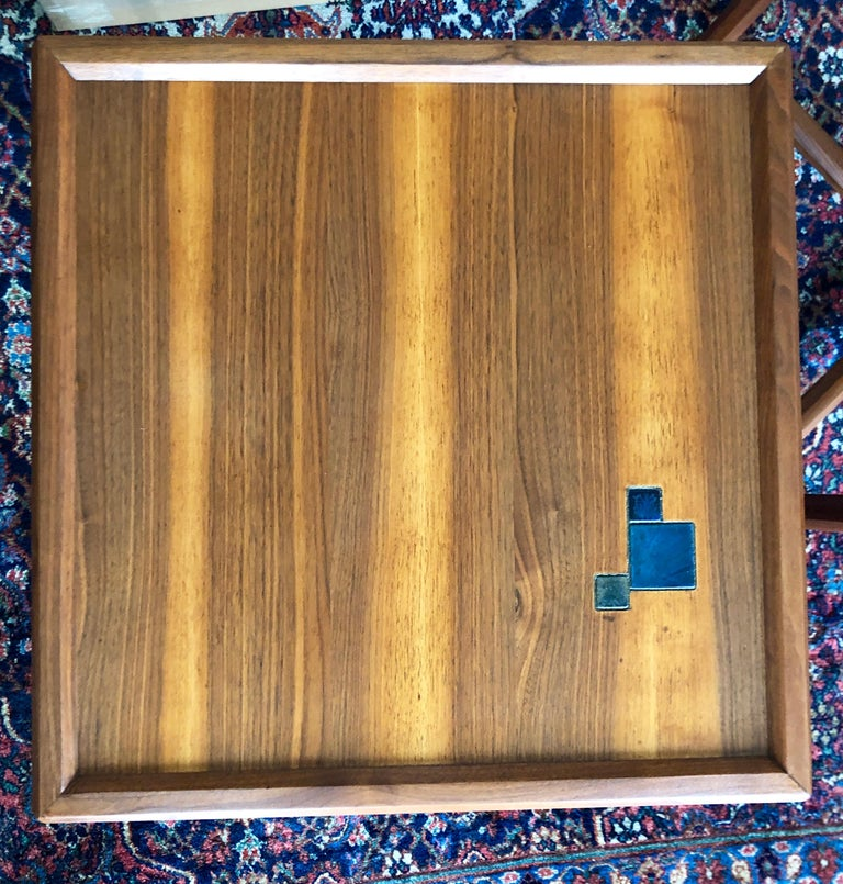 Pair of Dunbar Janus End Tables with Tiffany Tiles For Sale 1