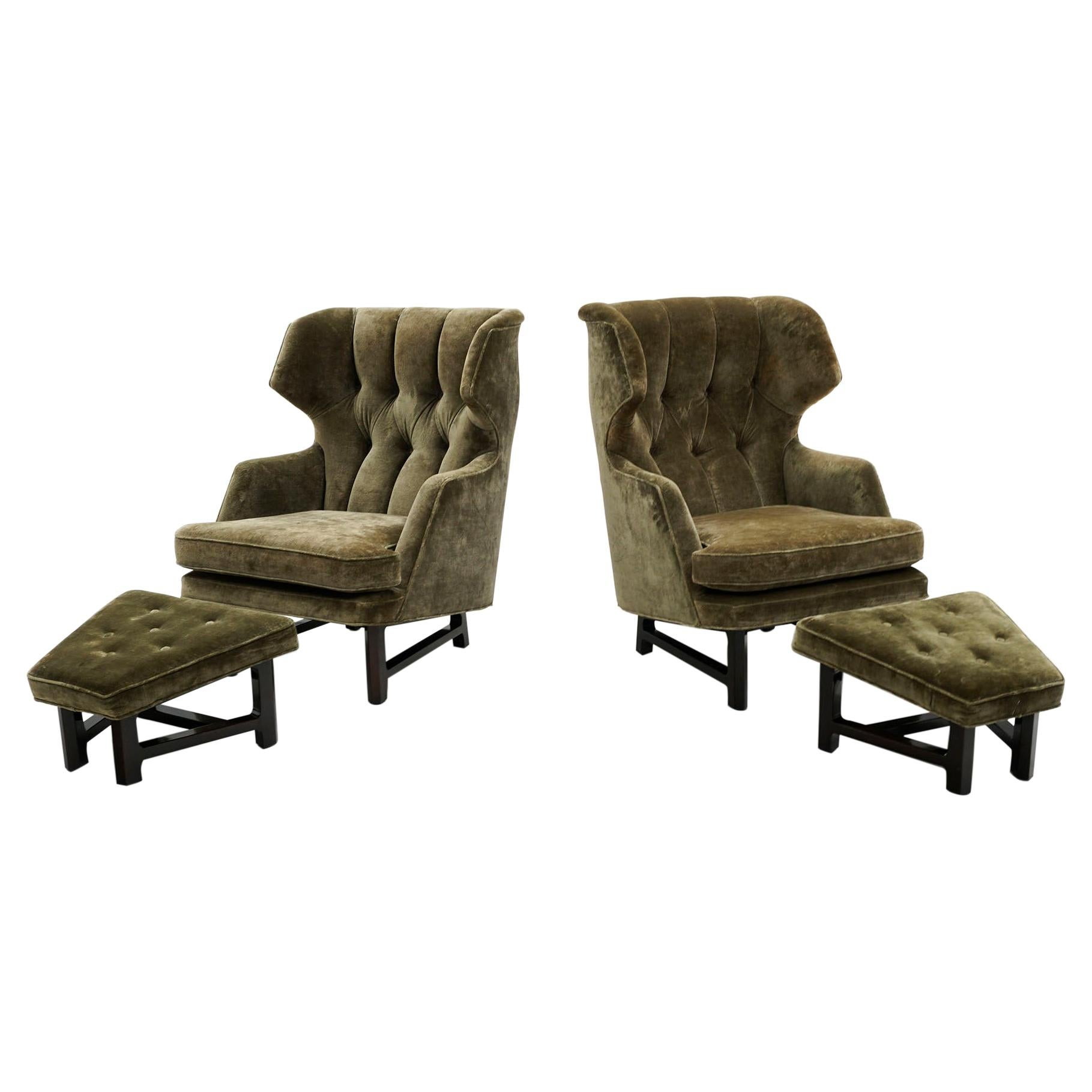 Pair Dunbar Wingback Chairs w/ Ottomans by Edward Wormley for Janus Collection