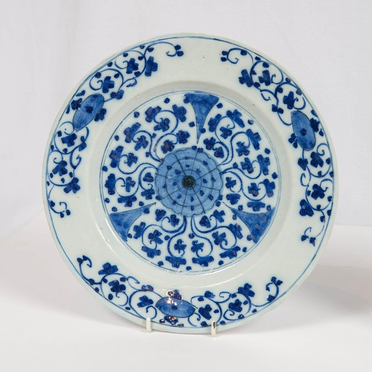 Chinoiserie Pair of Dutch Delft Blue and White Delft Chargers Made circa 1770 For Sale