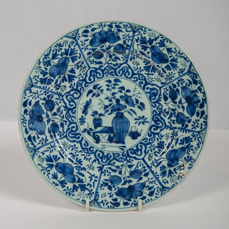Rococo Pair of Dutch Delft Blue and White Pancake Plates Made 1705-1725 For Sale
