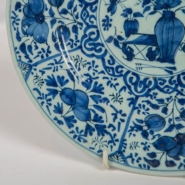 Pair of Dutch Delft Blue and White Pancake Plates Made 1705-1725 For Sale 1