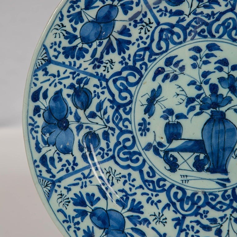 Pair of Dutch Delft Blue and White Pancake Plates Made 1705-1725 For Sale 2