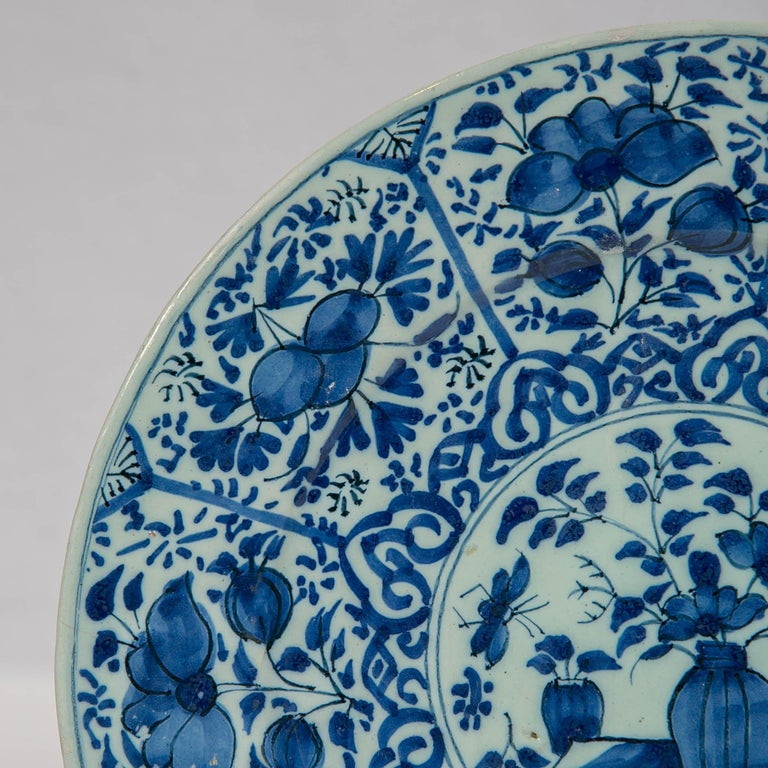 Pair of Dutch Delft Blue and White Pancake Plates Made 1705-1725 For Sale 3
