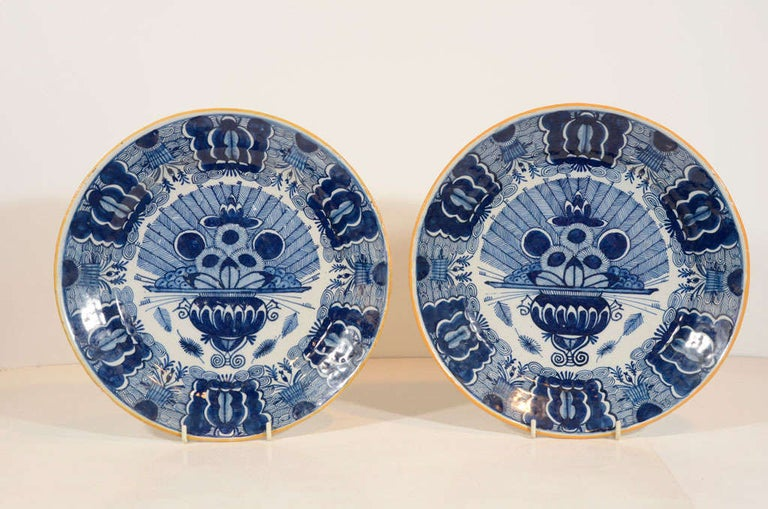 Glazed Pair of Dutch Delft Blue and White Peacock Chargers Made 18th Century circa 1780 For Sale