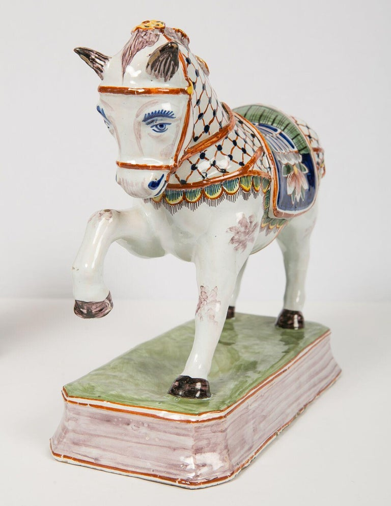 Rococo Pair of Dutch Delft Horses Painted in Polychrome Colors Made, Mid-19th Century For Sale