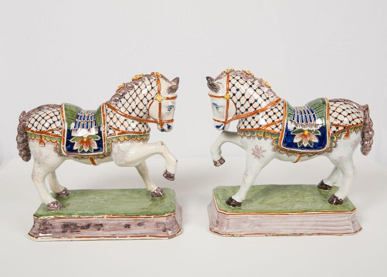 Enameled Pair of Dutch Delft Horses Painted in Polychrome Colors Made, Mid-19th Century For Sale