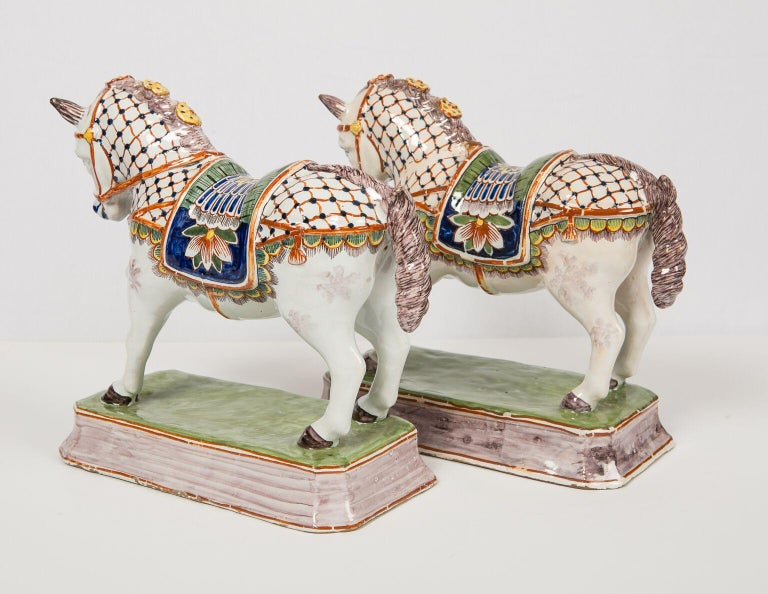 Late 19th Century Pair of Dutch Delft Horses Painted in Polychrome Colors Made, Mid-19th Century For Sale