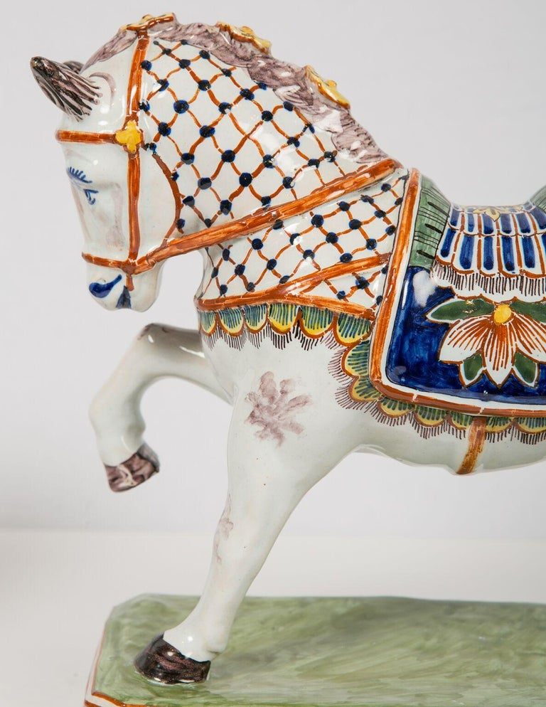Pair of Dutch Delft Horses Painted in Polychrome Colors Made, Mid-19th Century For Sale 1
