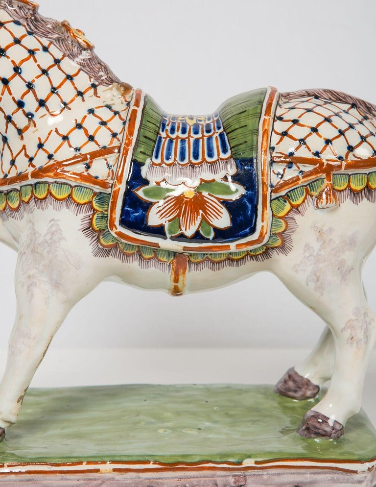 Pair of Dutch Delft Horses Painted in Polychrome Colors Made, Mid-19th Century For Sale 2