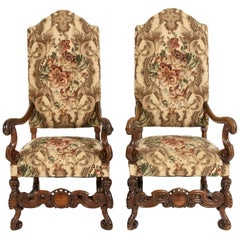 Pair Dutch Hand Carved Walnut Wood High Back Side / Armchairs