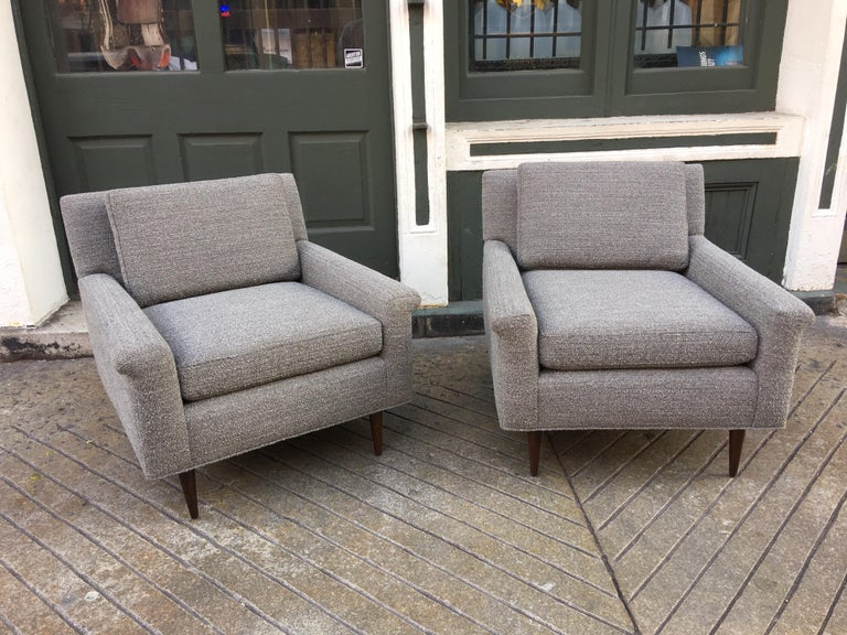 Swedish Pair of DUX Lounge Chairs, Newly Upholstered For Sale