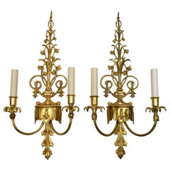 Pair E. F. Caldwell Classical Style Two Light Sconces