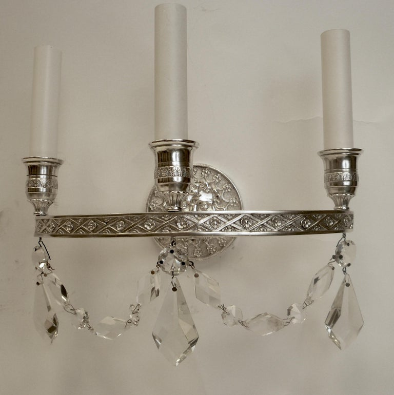 Pair of E. F. Caldwell Empire Style Silvered Bronze Three-Light Sconces For Sale 5