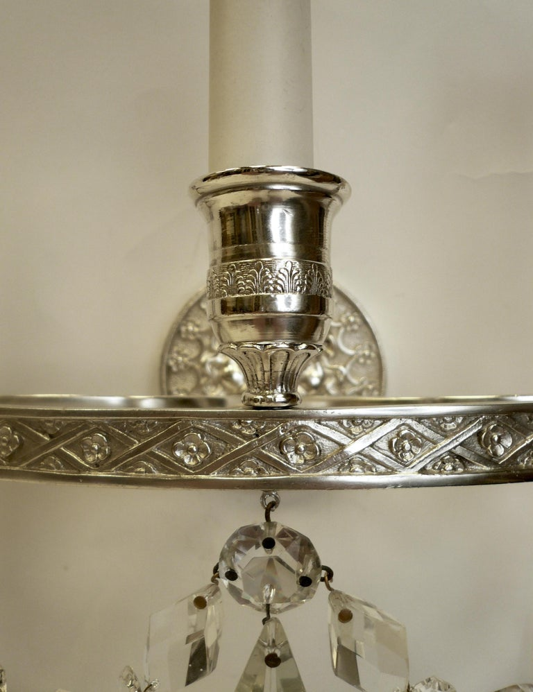 American Pair of E. F. Caldwell Empire Style Silvered Bronze Three-Light Sconces For Sale
