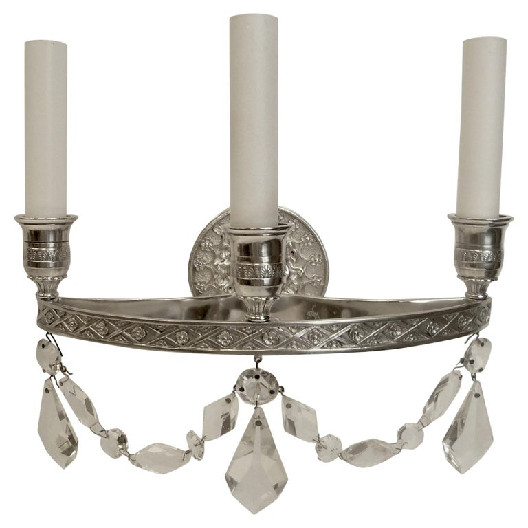 Pair of E. F. Caldwell Empire Style Silvered Bronze Three-Light Sconces For Sale