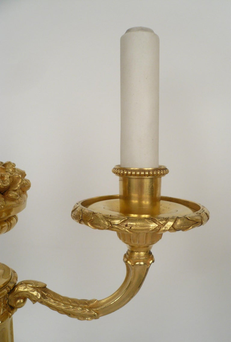 Pair of E. F. Caldwell Gilt Bronze Candelabra Form Lamps For Sale 5