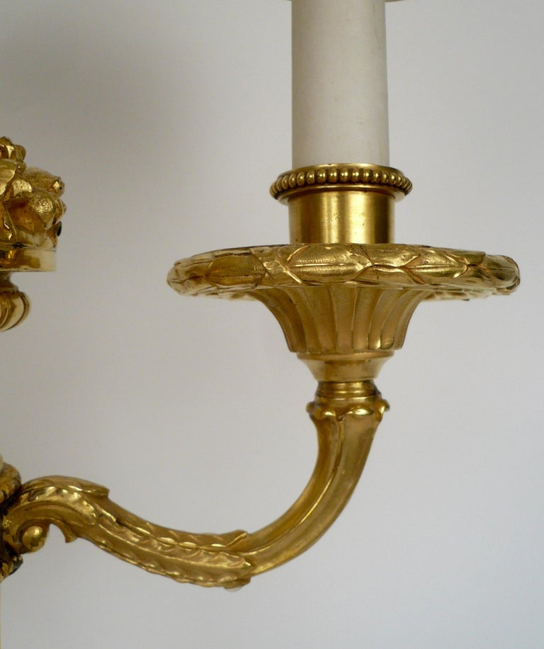 Pair of E. F. Caldwell Gilt Bronze Candelabra Form Lamps For Sale 1