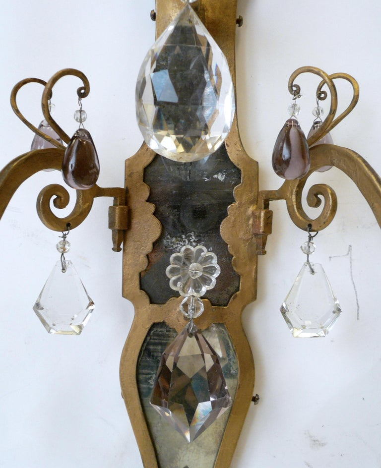American Pair of E. F. Caldwell Gilt Wrought Iron, Mirror and Crystal Sconces For Sale