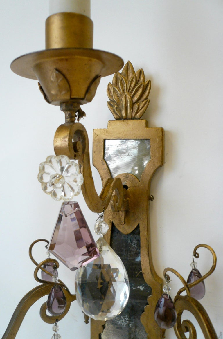 20th Century Pair of E. F. Caldwell Gilt Wrought Iron, Mirror and Crystal Sconces For Sale