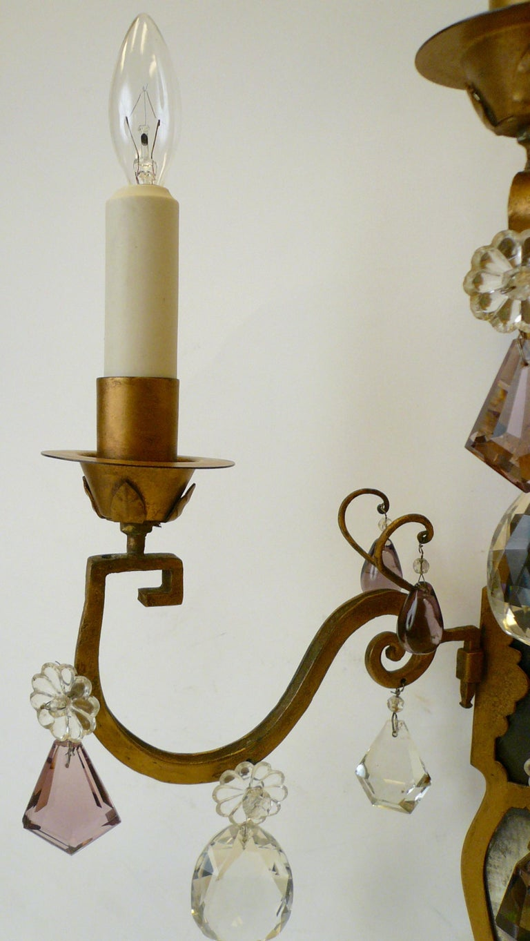 Pair of E. F. Caldwell Gilt Wrought Iron, Mirror and Crystal Sconces For Sale 2