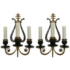 Pair of E. F. Caldwell Lyre Form Bronze Sconces