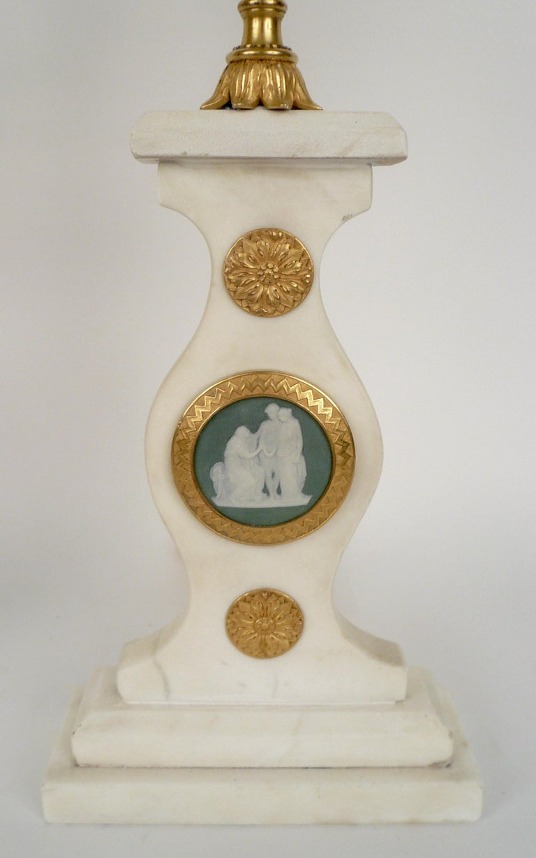 Pair E. F. Caldwell Marble, Bronze, and Wedgwood Candelabra form Lamps For Sale 2