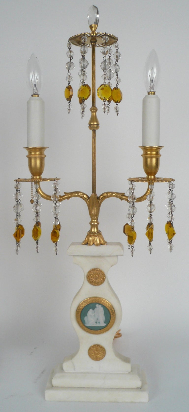 Pair E. F. Caldwell Marble, Bronze, and Wedgwood Candelabra form Lamps For Sale 5