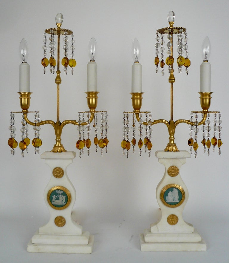 Neoclassical Pair E. F. Caldwell Marble, Bronze, and Wedgwood Candelabra form Lamps For Sale