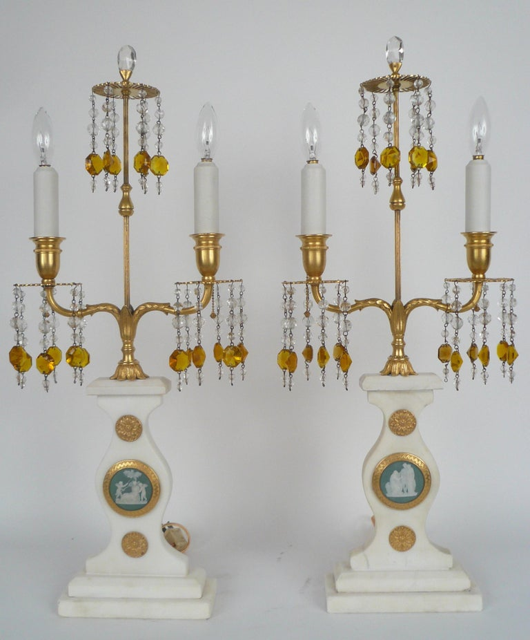 American Pair E. F. Caldwell Marble, Bronze, and Wedgwood Candelabra form Lamps For Sale
