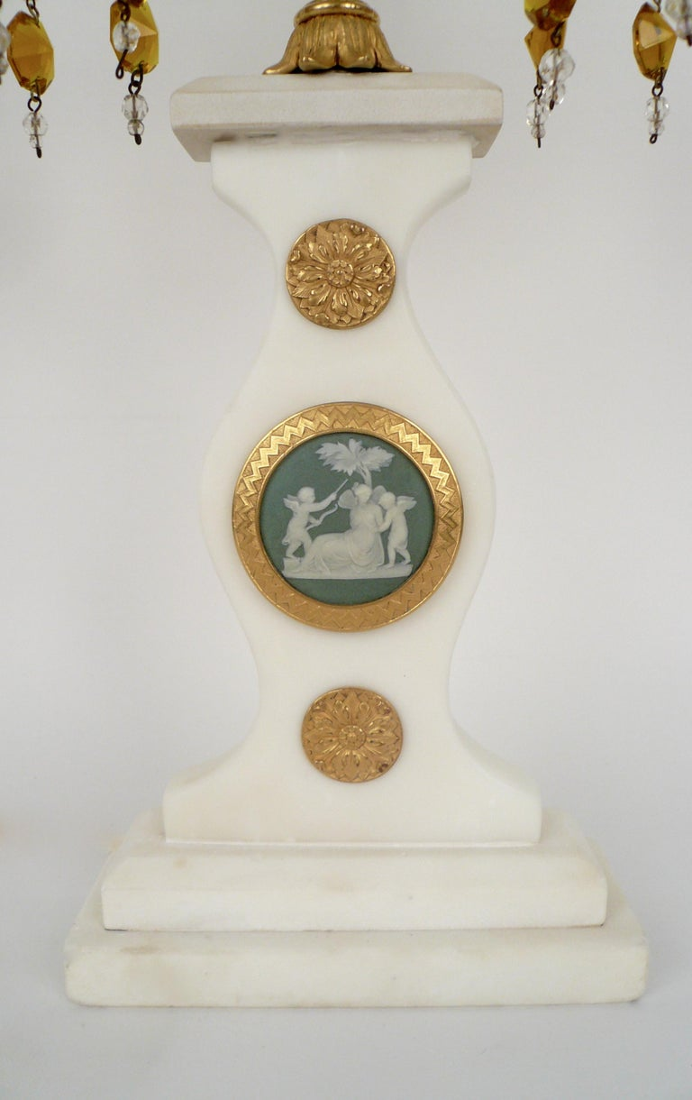 Gilt Pair E. F. Caldwell Marble, Bronze, and Wedgwood Candelabra form Lamps For Sale