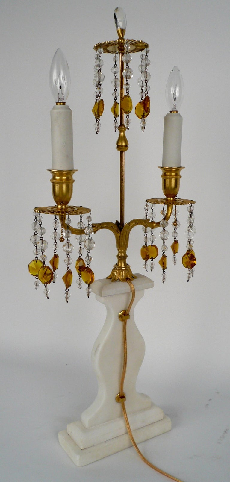 Pair E. F. Caldwell Marble, Bronze, and Wedgwood Candelabra form Lamps For Sale 1