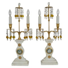 Pair E. F. Caldwell Marble, Bronze, and Wedgwood Candelabra form Lamps