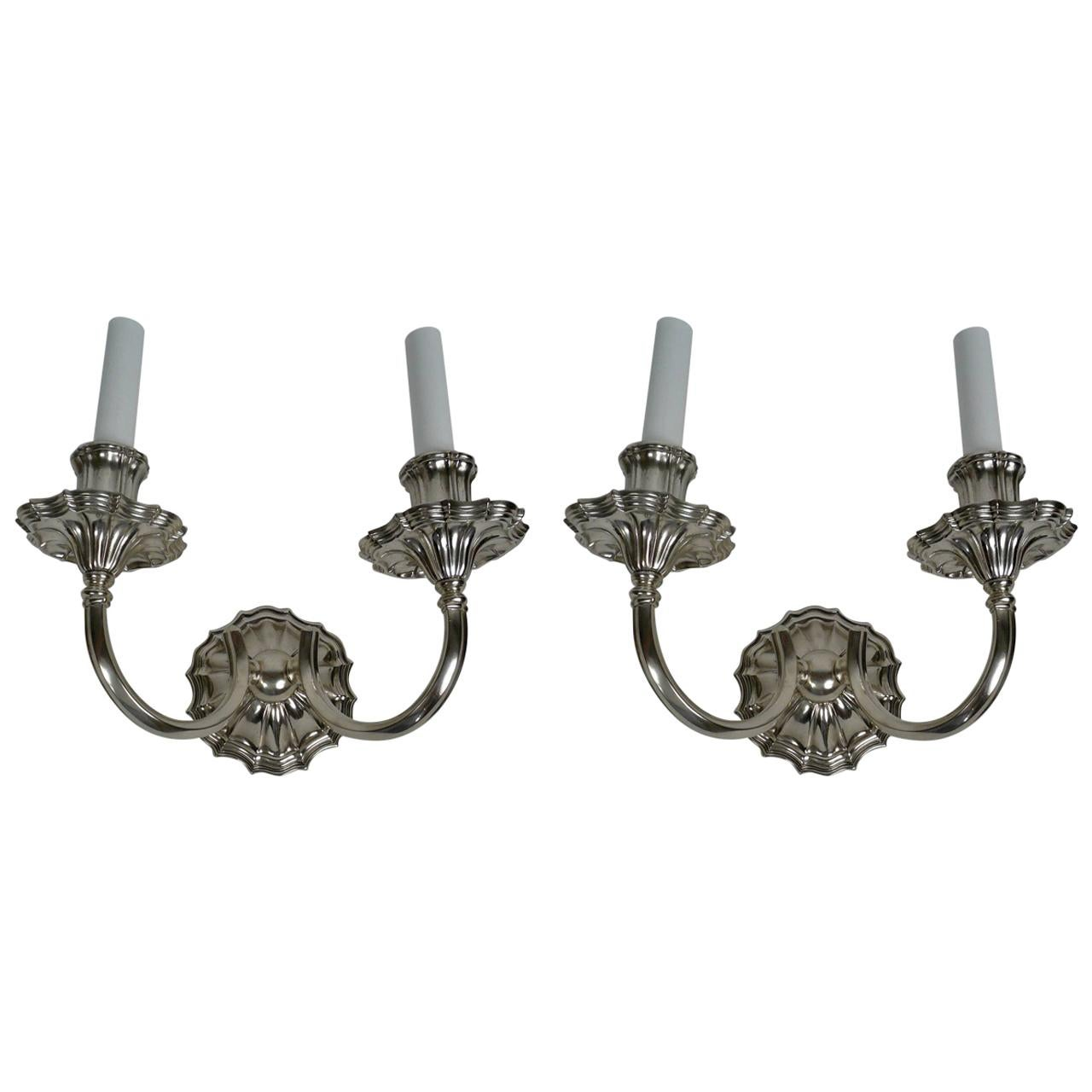 Pair of E. F. Caldwell Silver Two-Light Sconces