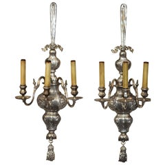 "E. F. Caldwell-Large Pair of Silvered Three Arm Sconces-42"" L"