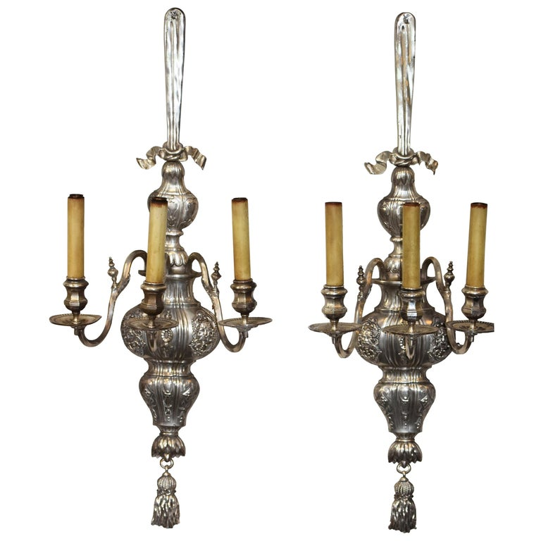 """Pair of Large Silvered Three Arm Sconces 42"""" H  by E. F. Caldwell For Sale"""