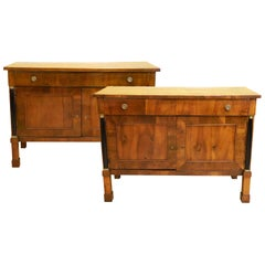 Pair of Austrian-Italian Neoclassical Walnut Cabinets or Sideboards