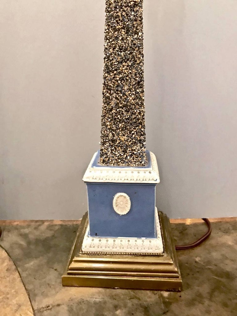 Pair of Early 19th Century Pearlware Obelisks, Assembled In Good Condition For Sale In Pasadena, CA