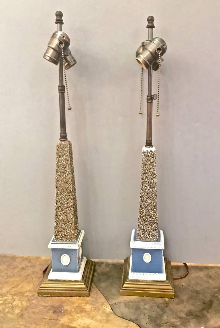 Pair of Early 19th Century Pearlware Obelisks, Assembled For Sale 3