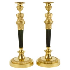 Pair Early 19th Century Empire Female Busts Gilt Patinated Bronze Candlesticks