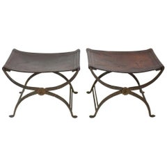 Pair of Early 19th Century Italian Neoclassical Wrought Iron Curule Stools