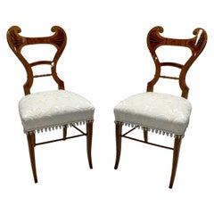 Early 19th Century Neoclassical Biedermeier Side Chairs with Walnut Inlay, Pair
