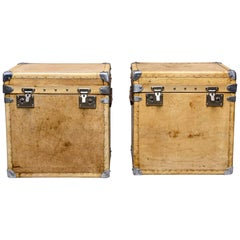 Pair of Early 20th C Restored English Vellum Trunks