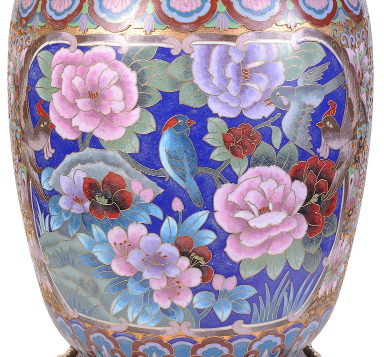 Pair of Early 20th Century Chinese Cloisonne Enamel Vases/Lamps For Sale 7