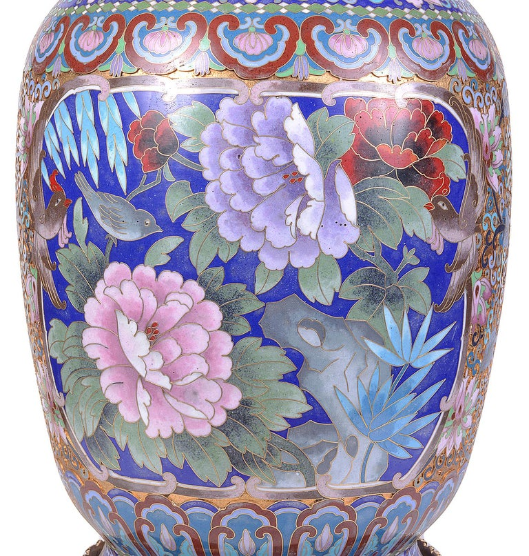 Pair of Early 20th Century Chinese Cloisonne Enamel Vases/Lamps For Sale 1