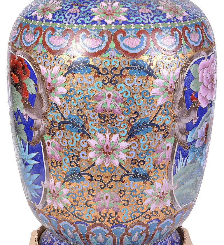 Pair of Early 20th Century Chinese Cloisonne Enamel Vases/Lamps For Sale 5